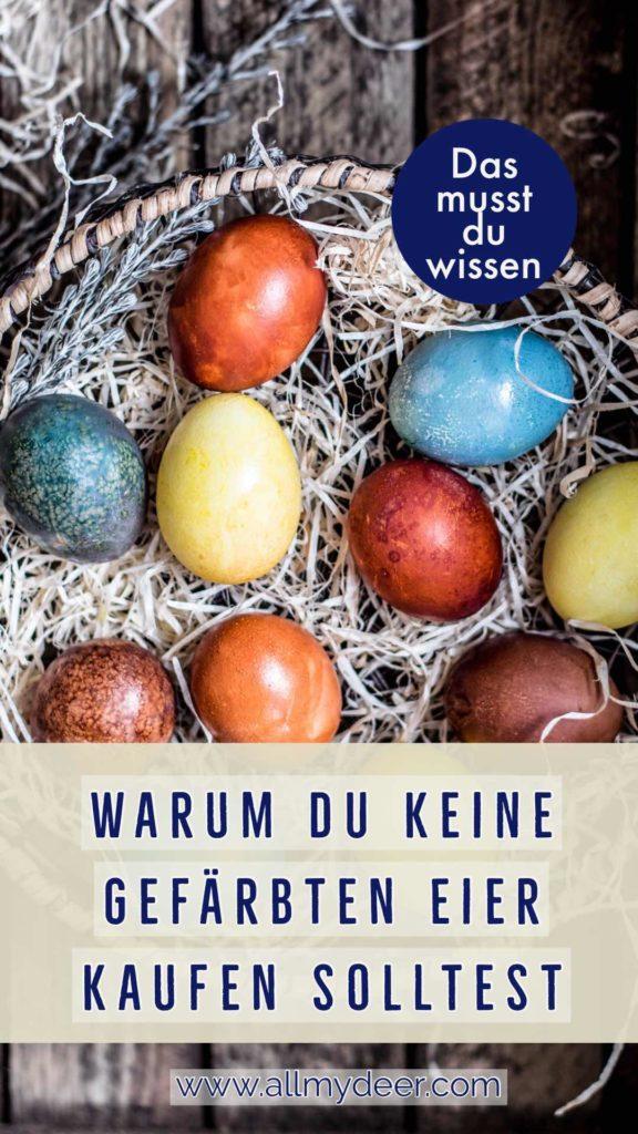 Pinterestgrafik: Gefärbte Eier sollten nicht gekauft werden