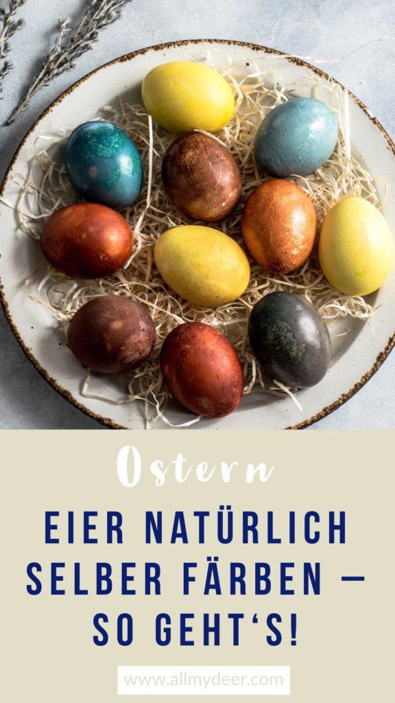 Pinterestgrafik: Bunte Eier natürlich färben
