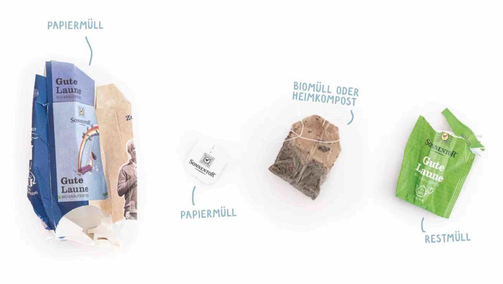 plastikfreier Teebeutel richtig entsorgen