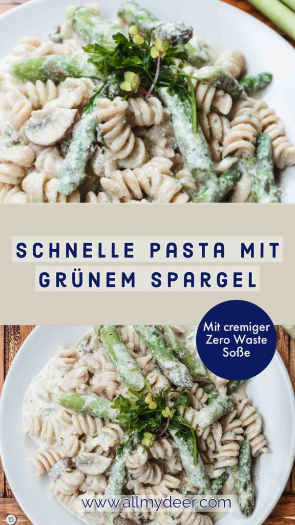 Schnelle Pasta mit grünem Spargel! Leckeres, veganes Rezept mir cremiger Soße! #grünerspargel #spargelrezept #spargel #spargelpasta #pasta