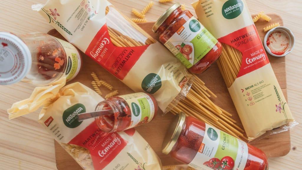 Pasta Produkte von NATURATA - leckere Nudeln und Tomatensaucen